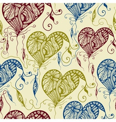 Seamless Pattern with Funky Bright Hearts vector