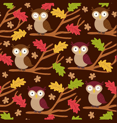 Seamless pattern with owl on branch vector