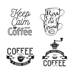 set coffee related typography quotes about vector image
