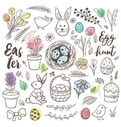 set hand drawn easter doodles vector image