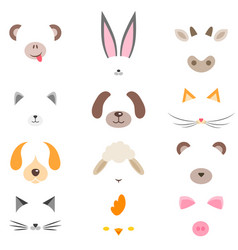 Set of masks of cute cartoon animals vector