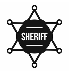 Sheriff badge icon simple style vector