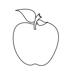 silhouette apple fruit food with stem and leaf vector image