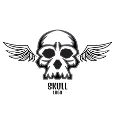 Skull logo wings one new vector
