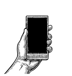 smartphone hold male hand vintage drawn vector image