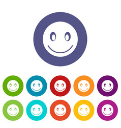 smiling emoticon set icons vector image