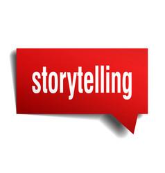 Storytelling red 3d speech bubble vector
