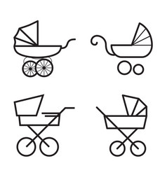 Stroller icons isolated on a white background vector