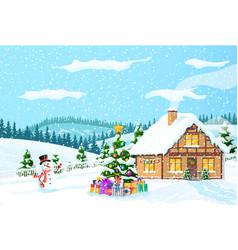 Suburban house covered snow vector