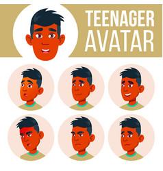 teen boy avatar set indian hindu asian vector image
