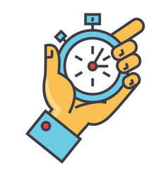 Time management hand with timer stopwatch vector