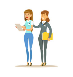 two young woman working together in office vector image