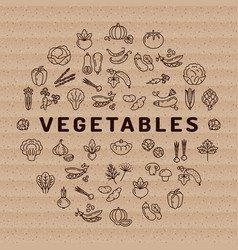vegetable icon circle infographics thin line vector image