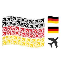 Waving german flag pattern of jet plane icons vector