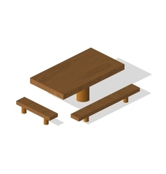 Wooden table and bench 3d isometric elements vector image