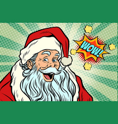 wow santa claus pop art retro vector image