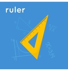 Yellow triangle ruler vector