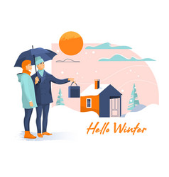 young beautiful couple with umbrella on snowy vector image