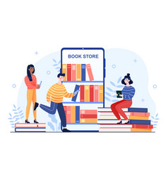 Young male and female characters are reading books vector