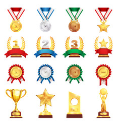 award trophy medal realistic set vector image