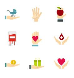 Fundraising organizations symbol icons set vector