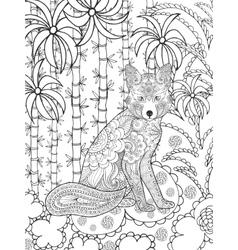 Zentangle stylized fox in fantasy garden vector image vector image