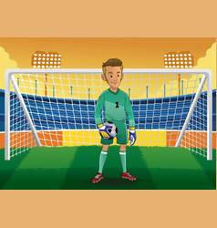 cartoon soccer goalkeeper vector image