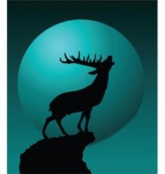 deer and moon vector image vector image