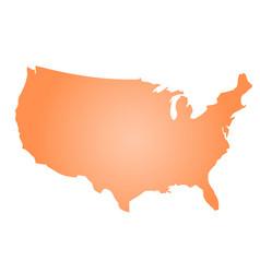 orange radial gradient silhouette map of united vector image vector image