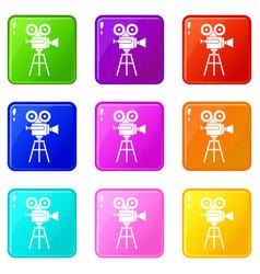 Retro film projector icons 9 set vector