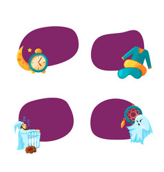 set of stickers with cartoon sleep elements vector image