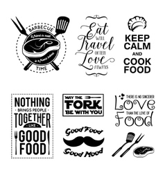 Set of vintage food related typographic quotes vector image