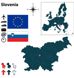 Slovenia and European Union map vector image vector image