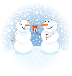 Snowman with gifts congratulating each other happy vector image vector image