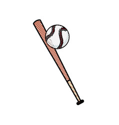 Drawing bat and ball baseball sportive equipment vector