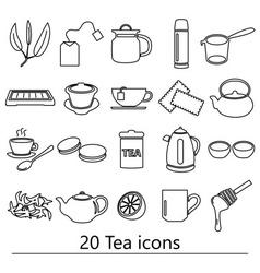 tea theme black simple outline icons set eps10 vector image vector image