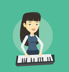 Woman playing piano vector
