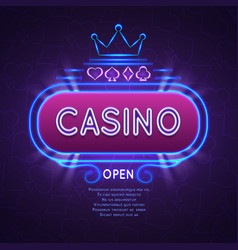 Abstract bright vegas casino banner with neon vector