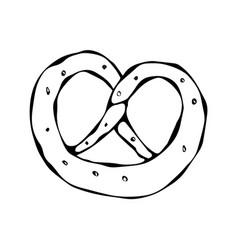 Bavarian pretzel with sesame and salt doodle vector