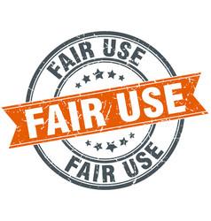 Fair use round grunge ribbon stamp vector