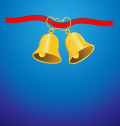 Golden wedding bell and red ribbon background vector image