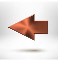 Left Arrow Sign with Bronze Metal Texture vector image vector image