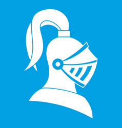 Medieval helmet icon white vector