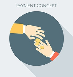Payment concept Hand giving money to other hand vector image