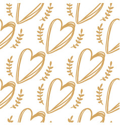 seamless pattern from golden hearts vector image vector image