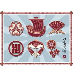 Set of Traditional Japanese Pattern vector image