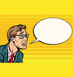 the man in glasses face panic vector image vector image