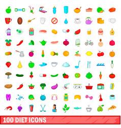 100 diet icons set cartoon style vector