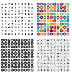 100 satellite connection icons set variant vector
