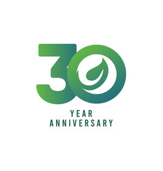 30 years anniversary leaf template design vector
